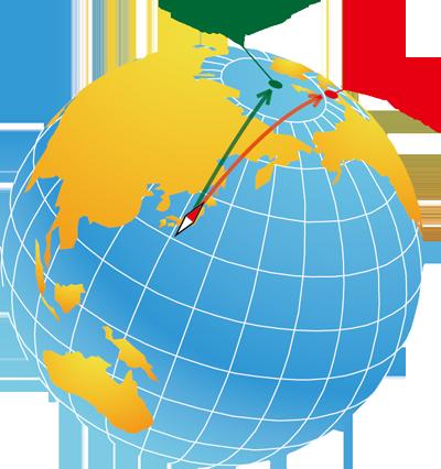 磁気偏角の説明図