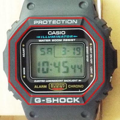 カシオ腕時計DW-5600E-1ベゼル(文字盤周囲の外枠)