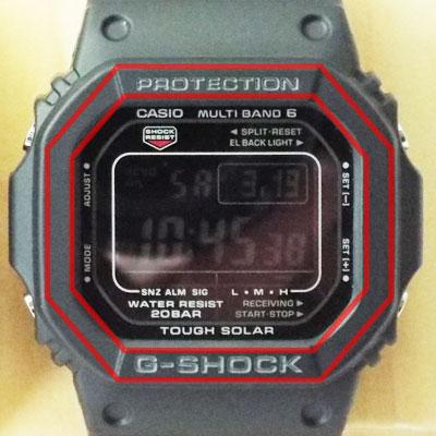 カシオ腕時計GW-M5610BC-1ベゼル(文字盤周囲の外枠)の形状