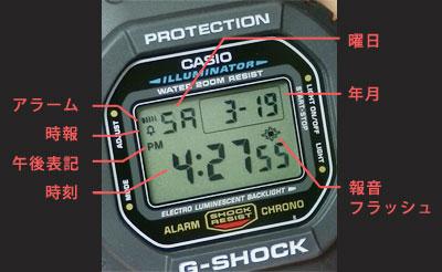 カシオ腕時計DW-5600E-1ディスプレイの詳細