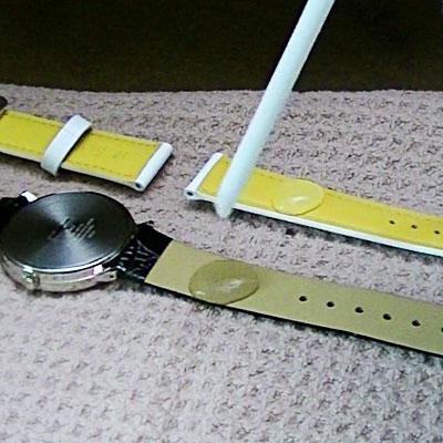バンビ腕時計ベルト・スコッチガードの撥水実験