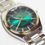 カットガラスにグリーン文字盤の腕時計!シチズンQ&Q QB78-422レビュー!
